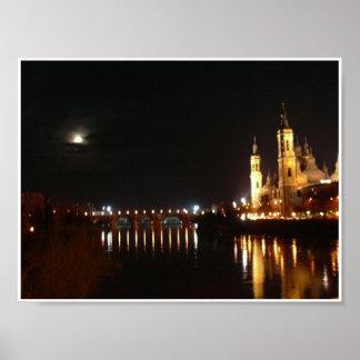 Zaragoza shines at night poster