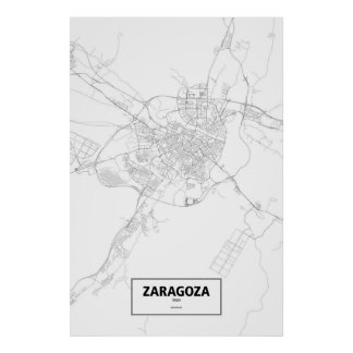 Zaragoza, Spain (black on white) Poster