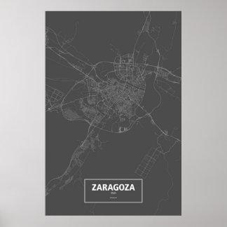 Zaragoza, Spain (white on black) Posters