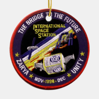 Zarya-Unity Modules of the ISS Double-Sided Ceramic Round Christmas Ornament