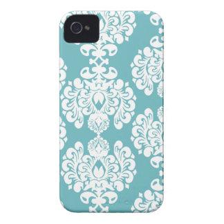 Zarzamora elegante del modelo del damasco azul de iPhone 4 cárcasas