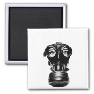 ZAS_Green_Eyed_Gas_Mask_1_POSTER.jpg 2 Inch Square Magnet