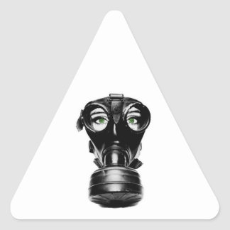 ZAS_Green_Eyed_Gas_Mask_1_POSTER.jpg Triangle Sticker