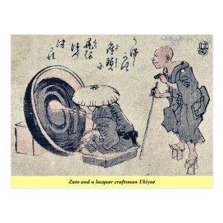 Zato and a lacquer craftsman Ukiyoe Postcard
