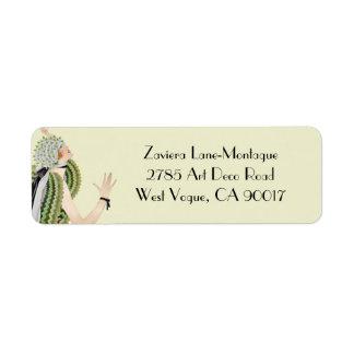 Zaviera in Green and Olive Return Address Label