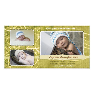 Zayden Beautiful Birth Announcements Purple Photo Cards