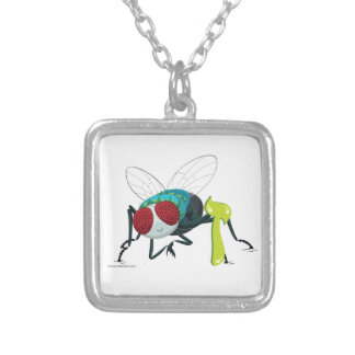 Zayin the Fly, Hebrew Aleph Bet (Alphabet) Silver Plated Necklace