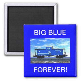 ZAZ420 Blue Caboose 2 Inch Square Magnet