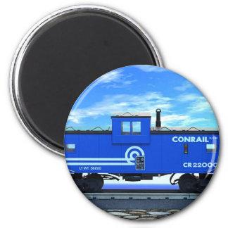 ZAZ420 Blue Caboose 2 Inch Round Magnet