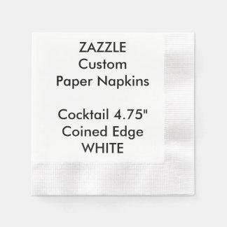 Zazzle Custom WHITE Coined Cocktail Paper Napkins