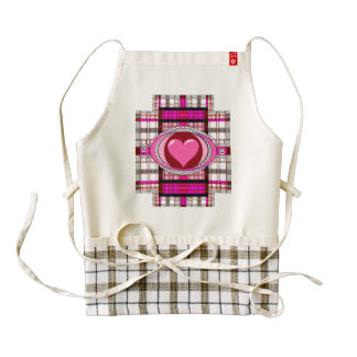 Zazzle Heart Plaid and Pink Plaid Apron