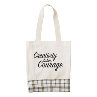 Zazzle Heart Tote Bag Creativity Takes Courage