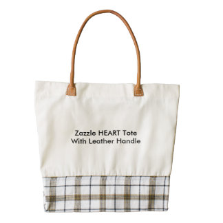 Zazzle HEART Tote With Leather Handle Zazzle HEART Tote Bag