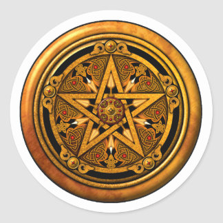 Zazzle - Masculine Gold Pentacle-noback Classic Round Sticker