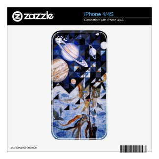 zazzle skin - art quilt The Next Frontiers II Skin For iPhone 4