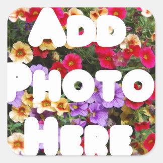 Zazzle Template Design My Own Photo Present Upload Square Sticker