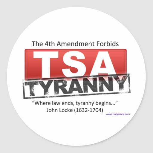 Zazzle TSA Tyranny Image Classic Round Sticker