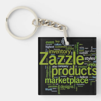 Zazzle Word Cloud - Green and Black Keychain