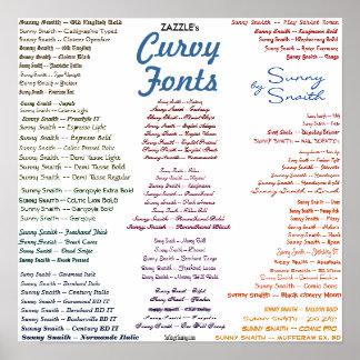 Zazzle's Curvy Fonts Poster
