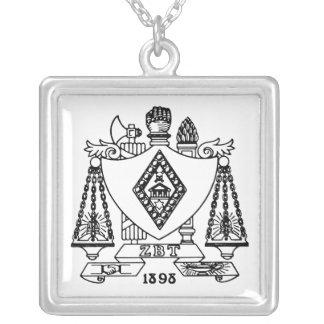 ZBT Crest Square Pendant Necklace