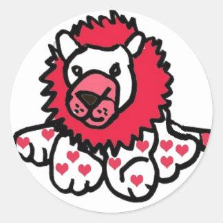 ZC- Hearts Lion Classic Round Sticker