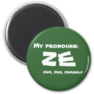 Ze or Custom Pronoun 2 Inch Round Magnet