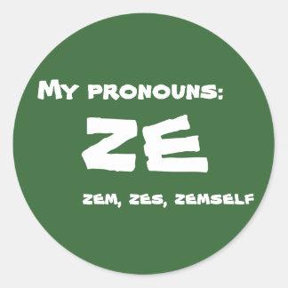 Ze or Custom Pronoun Classic Round Sticker