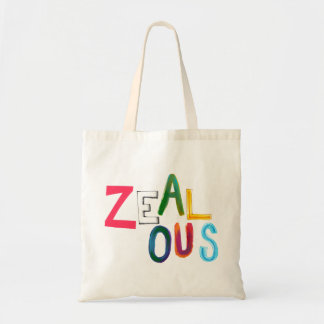 Zealous passionate committed resolved fun art word canvas bag