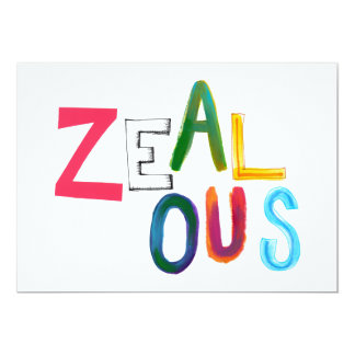 Zealous passionate committed resolved fun art word custom announcements
