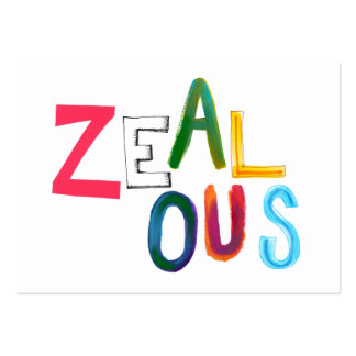 Zealous passionate committed resolved fun art word large business card
