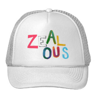 Zealous passionate committed resolved fun art word trucker hat