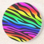 Zebbra raya el arco iris posavasos personalizados