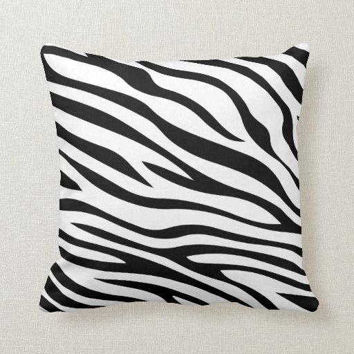 Black And White Zebra Throw Pillows : Zebbra Stripes Black and White Throw Pillow Zazzle