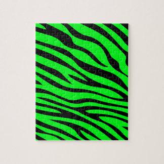 Zebbra Stripes Green Jigsaw Puzzle