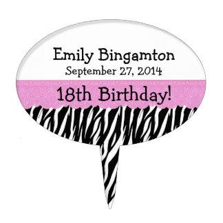 Zebra 18th Birthday Celebration Pink Lace Cake Pick