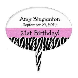 Zebra 21st Birthday Celebration Pink Lace Cake Topper
