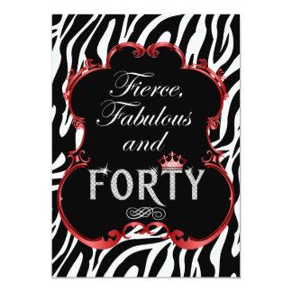 "Zebra 40 and Fabulous Bling Birthday Invitation 5"" X 7"" Invitation Card"