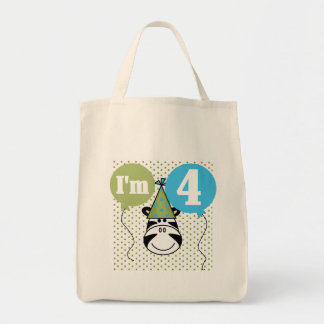Zebra 4th Birthday T-shirts and Gifts Tote Bags