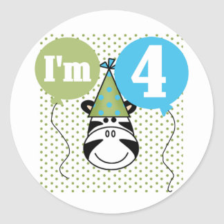 Zebra 4th Birthday T-shirts and Gifts Classic Round Sticker