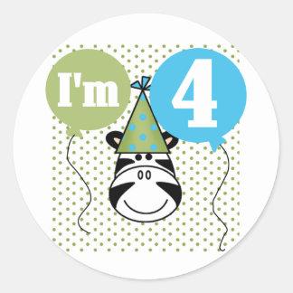Zebra 4th Birthday T-shirts and Gifts Classic Round Sticker