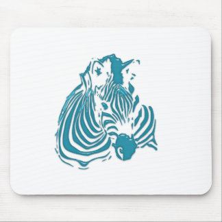 Zebra Abstract Print Green Blue White Mouse Pad