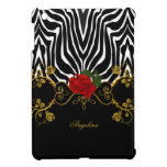 Zebra Abstract Roses Red Black White Gold Cover For The iPad Mini