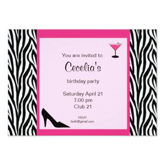 Zebra Adult Birthday Invitation (# INV 002)