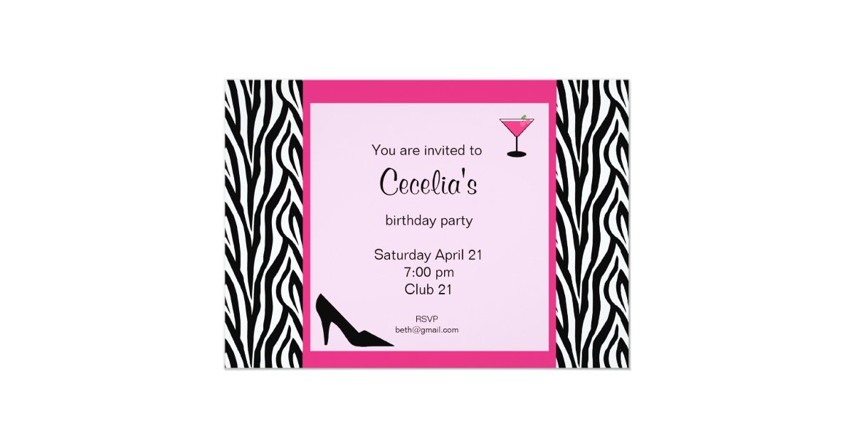 zebra adult birthday invitation (# inv 002) | zazzle, Birthday invitations