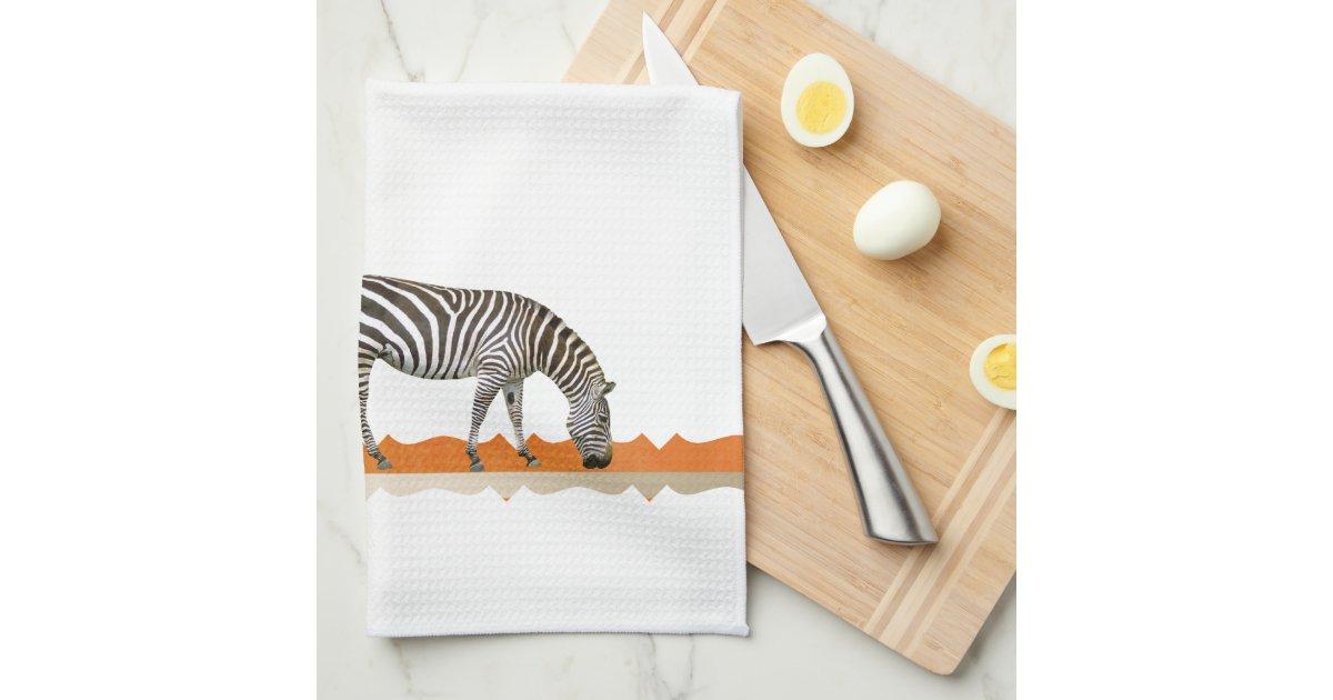 Zebra africa african tea towel kitchen towel zazzle for Zebra kitchen set