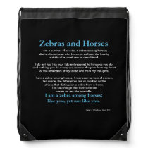 Zebra Among Horses Drawstring Bag