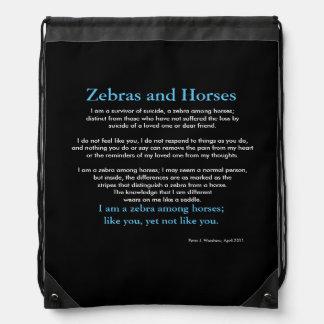 Zebra Among Horses Drawstring Bag