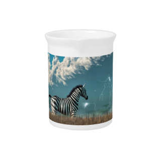 Zebra and Approaching Storm Drink Pitcher