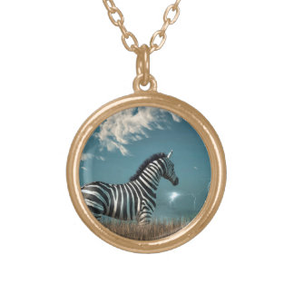 Zebra and Approaching Storm Round Pendant Necklace
