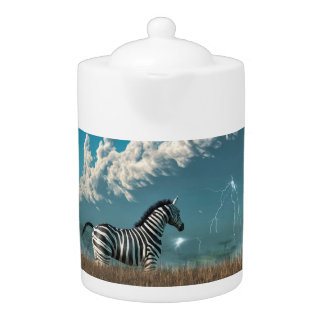Zebra and Approaching Storm Teapot